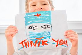 Thank You Hospital Workers. Coronavirus Doctors Thank You. Child Sends Message Of Gratitude Thanks T