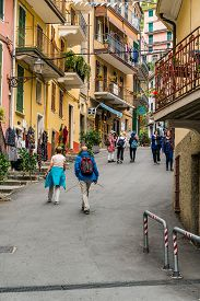 Vernazza, Liguria, Italy - October 05 2017: Tourists Walking In Local Street In Vernazza Fishing Vil