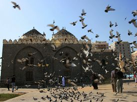 02/02/2018 Medina: Pigeons Fly In Front Of Ghamama Mosque In Medina, Saudi Arabia