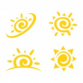 Sun Icon Set. Sun Collection Logo Icon Vector. Sun Star Collection, Sun Icon Logo. Sun Icon Color. S