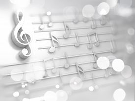 Song And Melody Concept.3d Illustration For Music Festivals And Jazz And Pop Concerts.abstract White