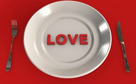 Food And Love Connection 3d While Having A Meal 3d Rendered Concept Isolated On Red Background