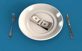 Us Dollar Banknotes On A Plate Business Finance 3d Rendered Concept 3d Rendering