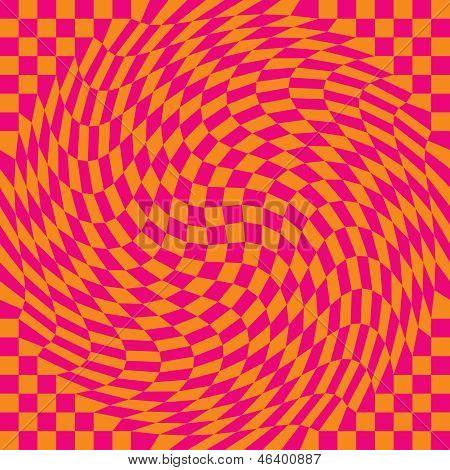 Checkerboard Warp in Pink and Orange