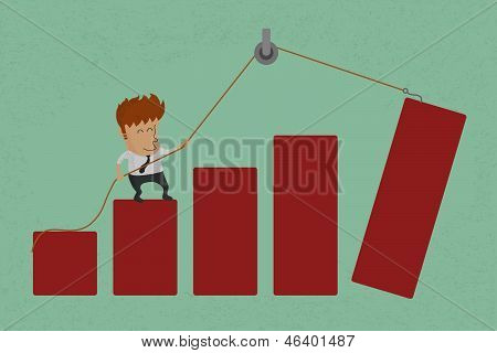 Stylized conceptual business chart - success  support metaphor