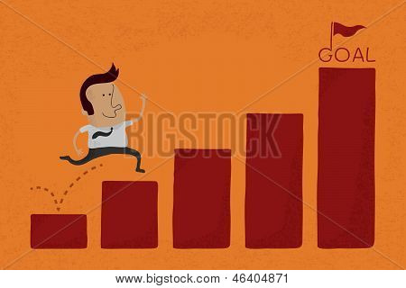 Happy Businessman jump over graph stat to goal , eps10 vector format