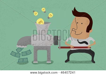 Idea is equal to money , eps10 vector format poster