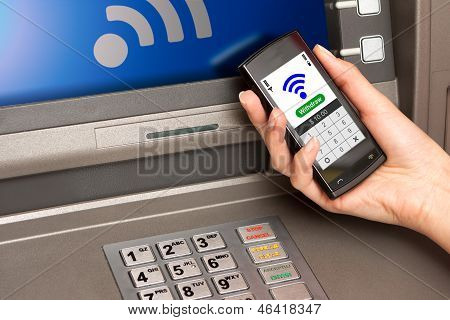Withdrawing Money Atm With Mobile Phone (nfc Near Field Communication)