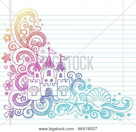 Sandcastle Tropical Beach Summer Vacation Sketchy Notebook Doodles- Hand Drawn  Illustration on Lined Sketchbook Paper Background