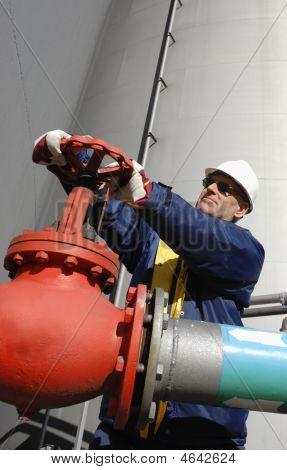 Engineer Turning Pipeline Pump