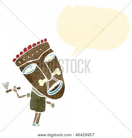 cartoon cannibal shaman with speech bubble