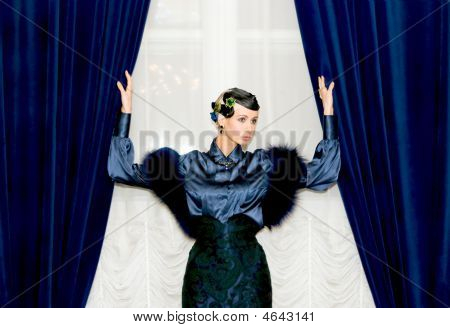 Girl Between Two Curtains