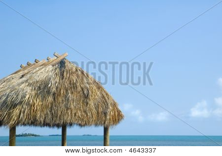 Tropical Caribbian Grass Hut Cabana background with lots of copy space poster