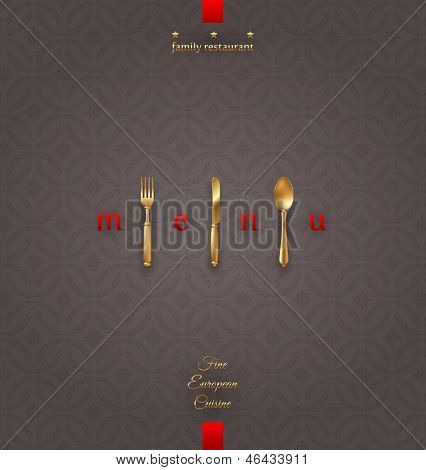 Ornate cover menu with golden cutlery - vector illustration