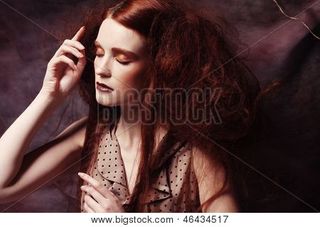 close up portrait redhair woman with bright creative make up
