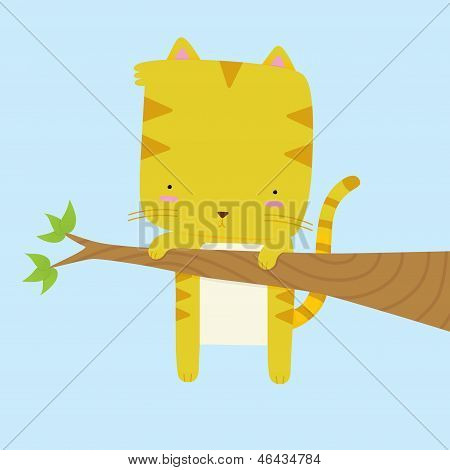 A vector illustration of a cute cat stuck on a tree branch. This is an Ai 10 file that does not contain any transparencies or blends. This file does contain gradients. All layers have been grouped and named for easy editing. poster