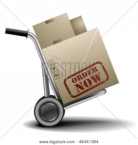 detailed illustration of a handtruck or trolley with cardboxes with order now label on them, eps 10 vector