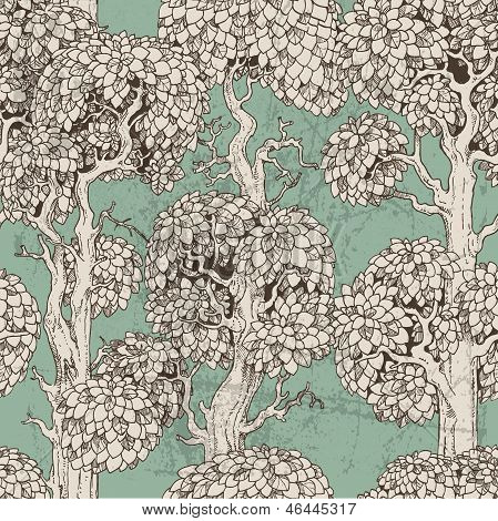 Seamless Pattern Of Dark Enchanted Old Trees Graphic Draw