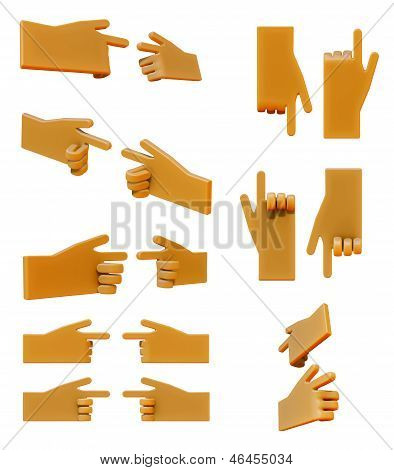 Pointing hand 3d icon set