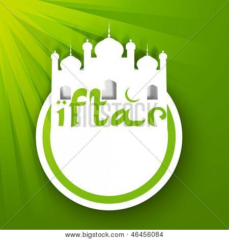View of Mosque with text Iftar on green background for Ramadan Kareem. poster