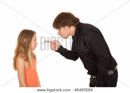 Angry Father Pointing Finger At His Child