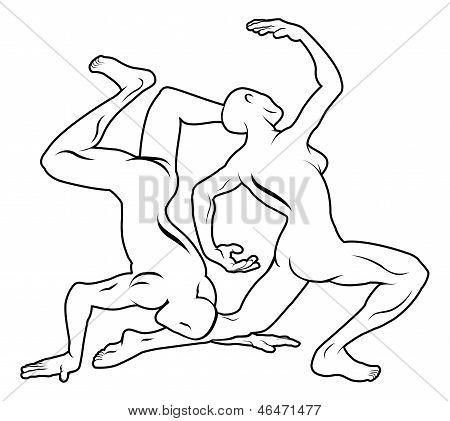 Stylised Dancers Illustration