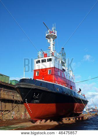 Red Boat In Dock