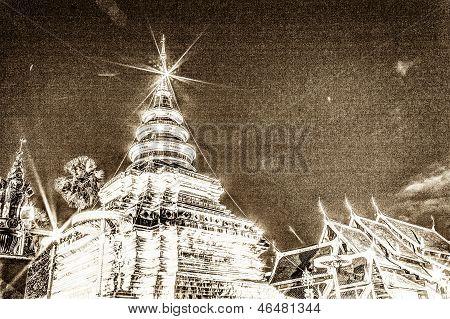 Vintage - Wat Pra That Chomthong Vora Vihan, Chedi In Thailand
