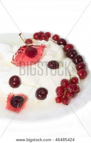 Curd With  Currant, Cherry On  Plate Isolated White Backgrownd