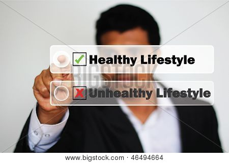Male Professional Choosing Healthy Lifestyle Vs Unhealthy Lifestyle
