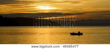Lone Fisherman Small Boat Sunrise Commencement Bay Puget Sound Waterfront