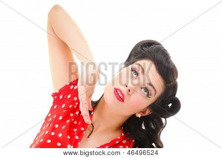 Portrait Of Pin-up Girl With Make-up And Hairstyle