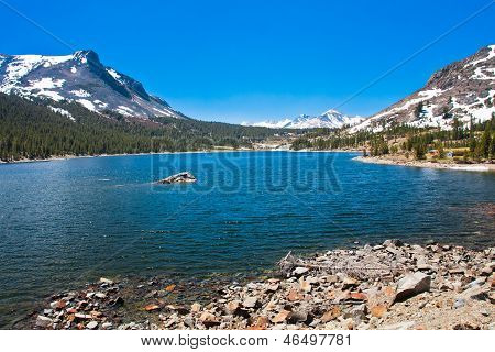 Snow-capped Mountains and Lake in Yosemite National Park,California
