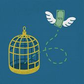 Money flying out of cage birds , Financial independence , eps10 vector format poster