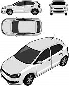 Compact car in orthographic and isometric views poster