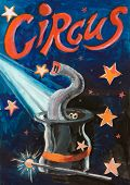 Circus poster done in tempera medium at age about 12. An Elephant in a top hat illusion under a starry night. poster