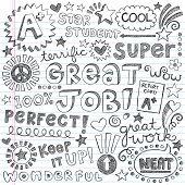 Great Job Super Student Praise Hand Lettering Phrases Back to School Sketchy Notebook Doodles- Hand-Drawn Illustration Design Elements on Lined Sketchbook Paper Background poster