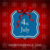 4th of July, American Independence Day sticker, label or tag with red ribbon. poster
