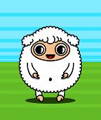Kawaii style sheep character on the lawn poster