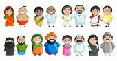 vector illustration of Indian couple of different culture poster