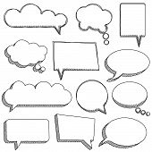Vector Collection of Cute Doodle Speech or Thought Bubbles poster