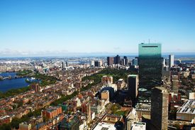 Boston, USA circa September 2011 Aerial panorama of Boston, Ma, USA