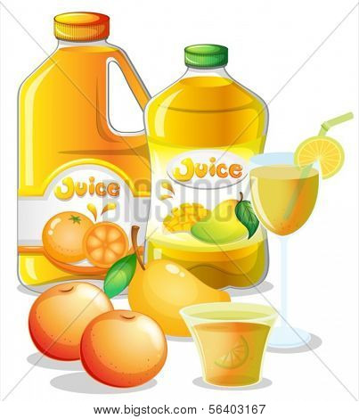 Illustration of the different juice drinks on a white background