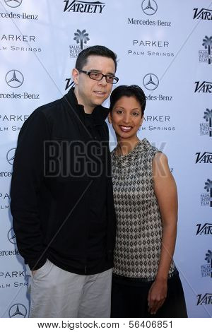 PALM SPRINGS - JAN 5:  Aron Gaudet, Gita Pullapilly at the Variety's Creative Impact Awards And 10 Directors to Watch Brunch at Parker Palm Springs on January 5, 2014 in Palm Springs, CA