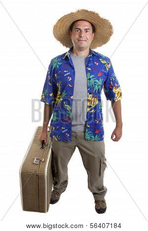 Young Silly Man Traveler, Full Body On White Background