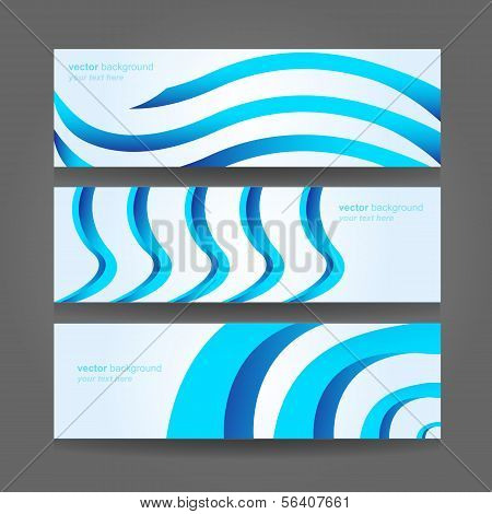 Abstract Header Blue Wave Vector Design