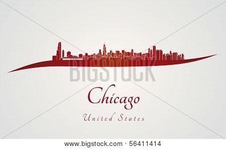 Skyline de Chicago em vermelho