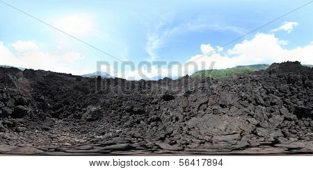 Spherical, 360 degrees panorama (equirectangular projection) of rocky terrain of Batur volcano, Bali, Indonesia