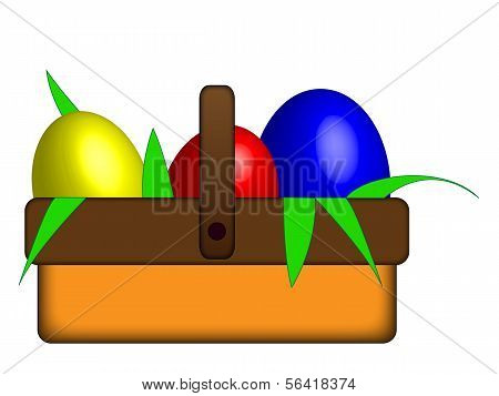 3 Easter Eggs In A Basket.