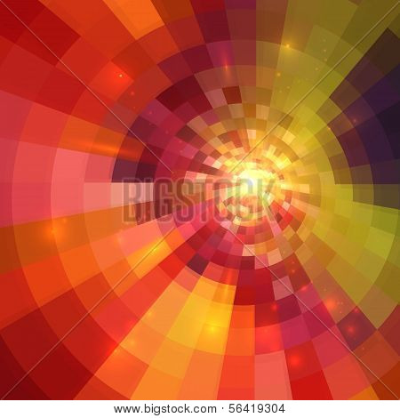 Abstract orange shining circle tunnel lined background poster